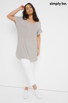 Simply Be Grey Short Sleeve Button Trim Printed Tunic