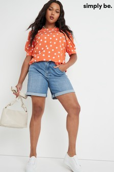 Simply Be Coral Puff Sleeve Woven T-Shirt