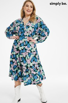 Simply Be Blue Vintage Floral Tiered Smock Midi Dress