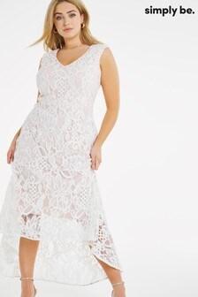 Simply Be Ivory Joanna Hope Dip Hem Lace Dress