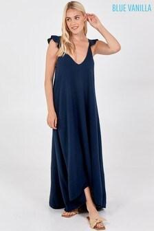 Blue Vanilla Navy Frill Strap Tie Back Detail Maxi Dress