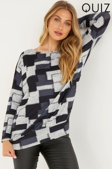 Quiz Grey Patchwork Knitted Top