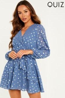Quiz Blue Gold Polka Dot Skater Dress