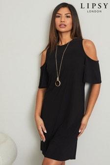 Lipsy Black Printed Cold Shoulder Shift Dress