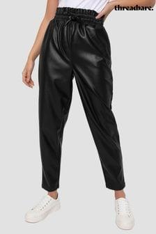 Threadbare Black PU Paperbag Waist Trouser
