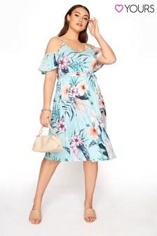 Yours Blue Tropical Cold Shoulder Dress