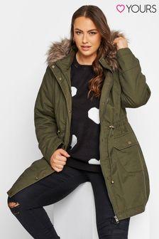 Yours Green Fur Trim Parka