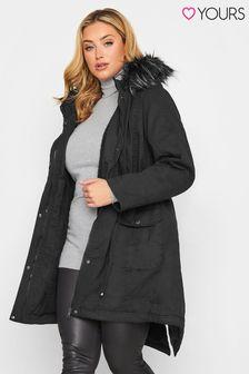 Yours Black Fur Trim Parka