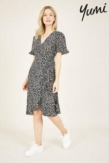 Yumi Blue Animal Print 'Aoife' Wrap Dress