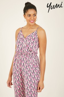Yumi Pink Ditsy Floral Wrap Jumpsuit