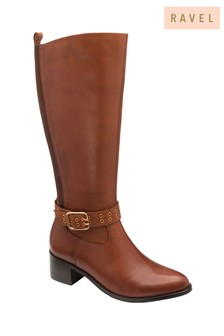 Ravel Brown Tan Leather Knee-High Boots