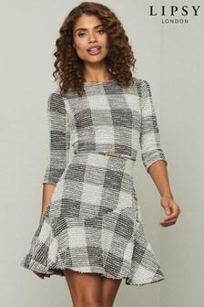 Lipsy Grey Curve Hem Skater Dress