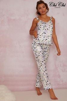 Chi Chi London White Ruffle Trim Graphic Print Pyjama Set In White