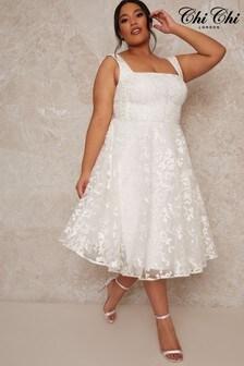 Chi Chi London White Curve Bridal Sleeveless Square Neck Lace Midi Dress In White