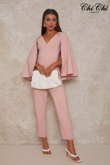 Chi Chi London Pink Cape Detail Jumpsuit In Pink