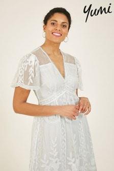 Yumi White 'Beatrix' Lace Mesh Midi Dress