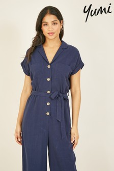Yumi Navy Button Up 'Myra' Jumpsuit