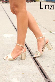 Linzi Gold Ulissa Padded Twist Block Heel Sandal