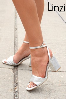 Linzi Silver Ulissa Padded Twist Block Heel Sandal