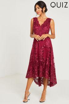 Quiz Red Embroidered Dip Hem Dress