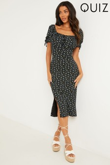 Quiz Black Ditsy Print Midi Dress