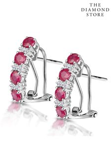 The Diamond Store Red Ruby Earrings Half Hoop With Lab Diamonds Set in 925 Silver