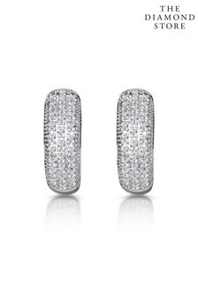 The Diamond Store White Huggy Earrings Lab Diamond Pave Set 0.33ct in 925 Silver