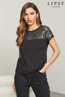 Lipsy Black Sequin Regular Yoke Detail T-Shirt
