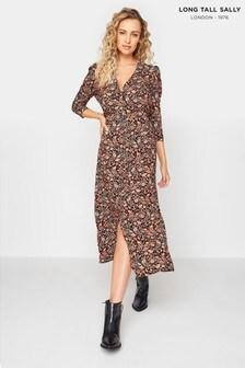 Long Tall Sally Black Paisley Print Tea Dress