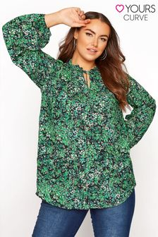 Yours Green Frill Neck Detail Blouse
