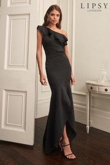 Lipsy Black Ruffle One Shoulder Maxi Dress