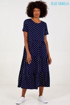 Blue Vanilla Navy Short Sleeve Tiered Smocked Dress