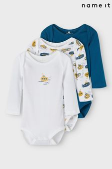 Name It Legion Blue 3 Pack Long Sleeve Baby Bodysuit