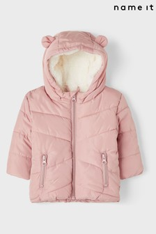 Name It Pink Padded Coat With Hood