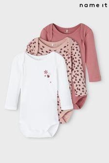 Name It Pink Long Sleeve Bodysuit 3 Pack