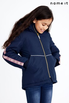 Name It Dark Sapphire Hooded Coat With Colour Block Sleeve Detail