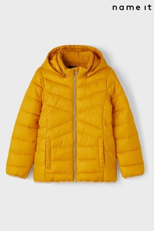 Name It Yellow Padded Coat With Hood