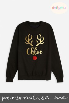 Personalised Adults Family Reindeer Black Sweatshirt by Dollymix