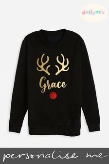 Personalised Kids Family Reindeer Black Sweatshirt by Dollymix