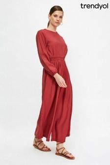 Trendyol Red Wide Leg Jumpsuit