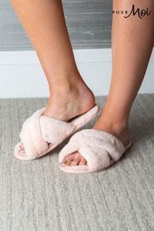 Pour Moi Pink Faux Fur Crossover Slider Slipper