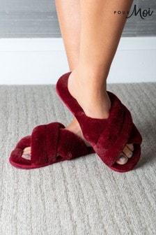 Pour Moi Red Faux Fur Crossover Slider Slipper