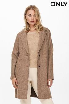Only Brown Lightweight Crombie Coat