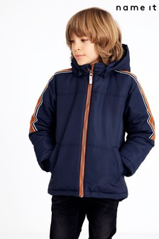 Name It Blue Hooded Coat With Colour Block Sleeve Detail