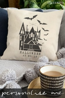 Personalised Halloween House Number Cushion by Solesmith