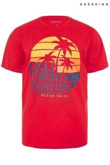 BadRhino Red Surf & Co Back Print T-Shirt