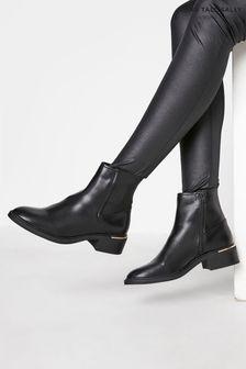 Long Tall Sally Black Metal Trim Chelsea Boot