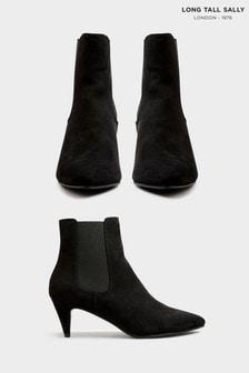 Long Tall Sally Black Kitten Heel Chelsea Boot