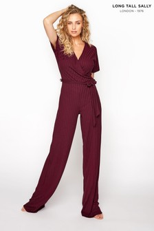 Long Tall Sally Red Ribbed Wrap Front Jumpsuit