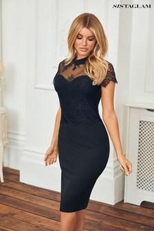 Sistaglam Black Lace Midi Dress